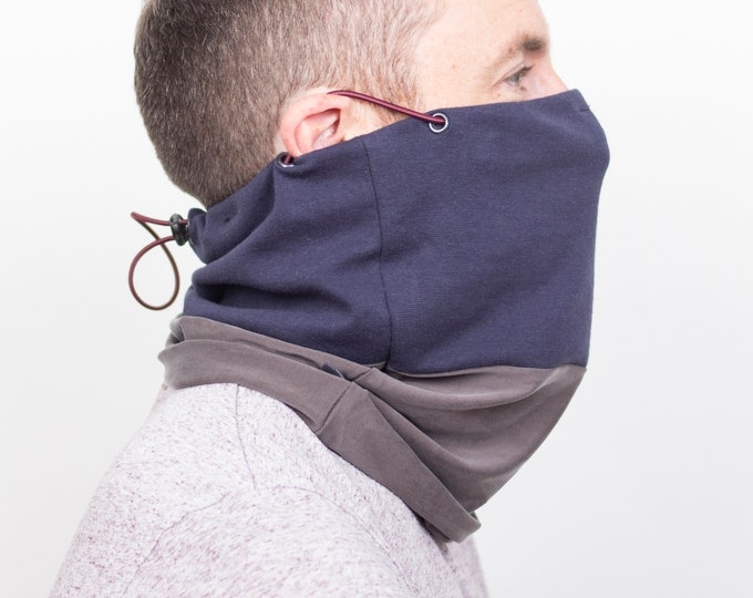 Cowl scarf mask or face covering in 2 tone grey and dark navy