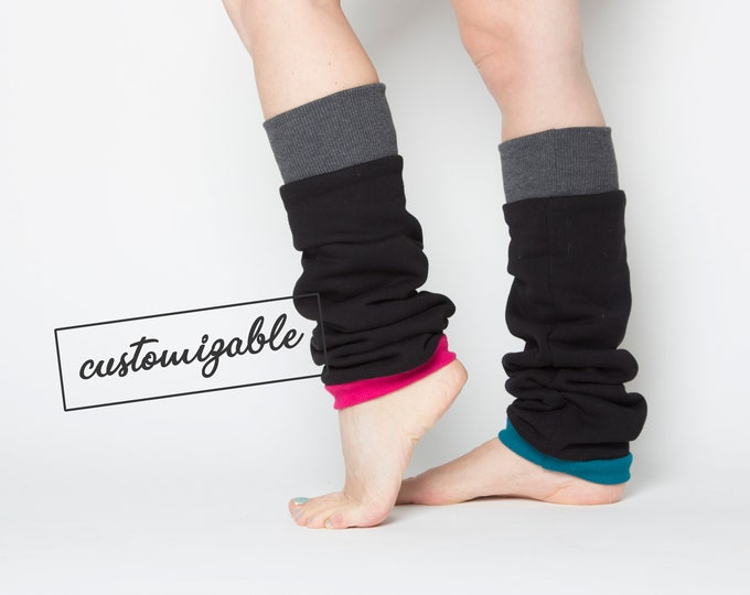 long or regular cotton leg warmers in black with unique cuffs