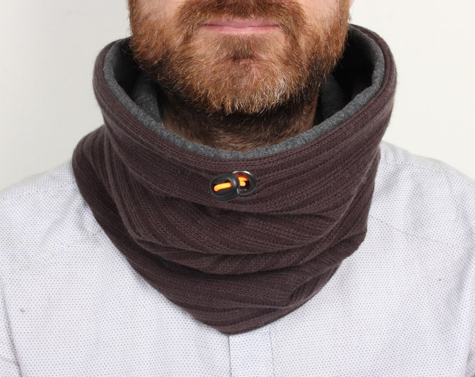 Outlet - brown rib knit wool cowl lined with dark grey cotton