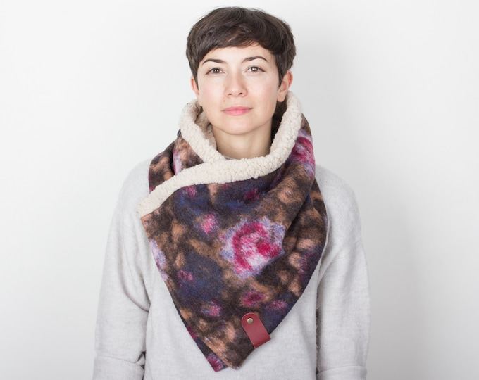 Adjustable wrap or stole, cowl scarf in Italian floral design wool - fully lined