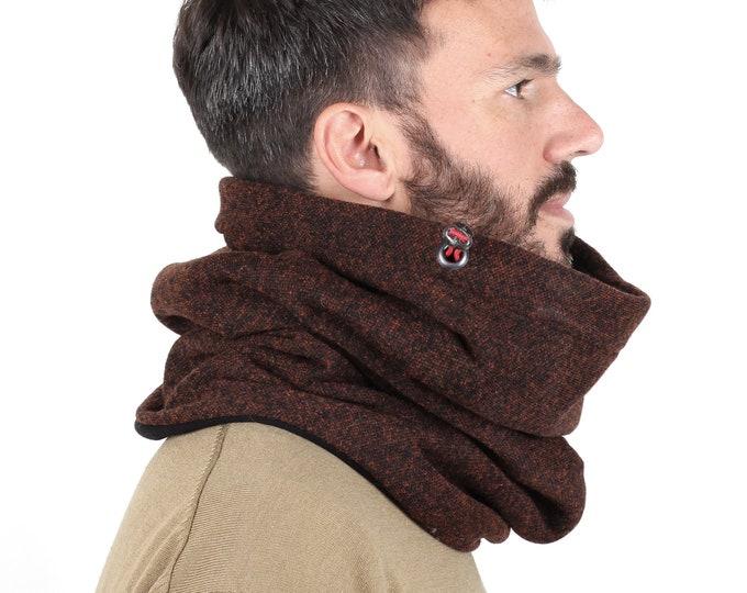 Loop scarf, mens wool loop lined with fleece