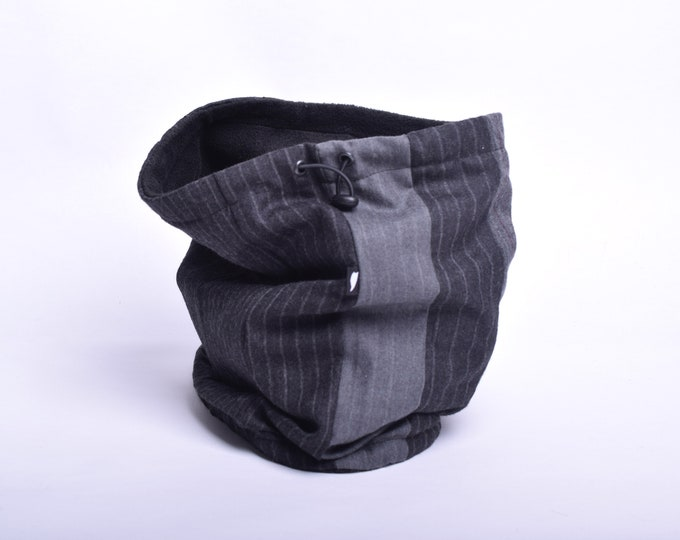 Outlet - pinstripe patchwork wool cowl with black fleece lining