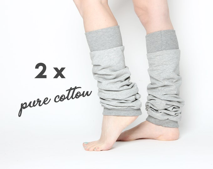 2 pairs of pale grey ballet or yoga leg warmers in 100% cotton