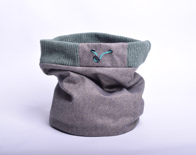 Outlet - wool tweed with mint green rib top
