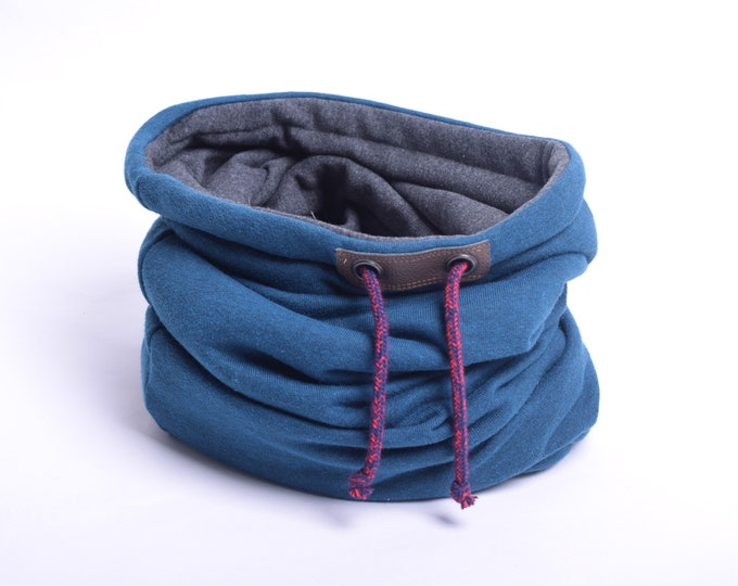 Outlet -  hoody style blue melange cowl scarf with soft cotton lining, hooded cowl