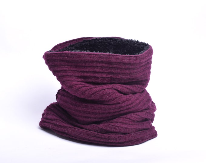 Outlet - burgundy knit wool cowl with black and off white faux lamb lining, hooded cowl