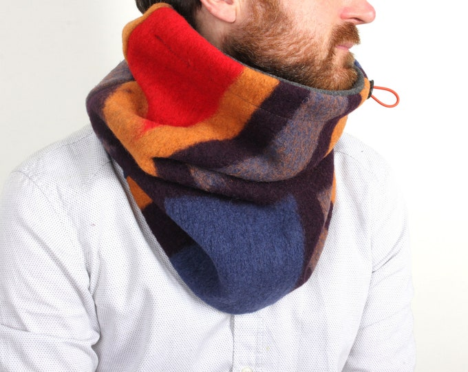 chunky knit wool cowl in nordic geometric colourful pattern with cotton lining - Outlet