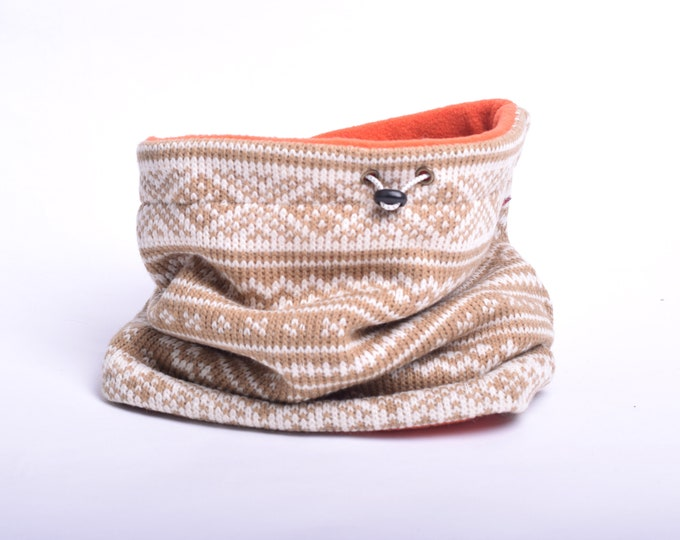 Outlet - Nordic christmas pattern knit cowl scarf with polar fleece lining