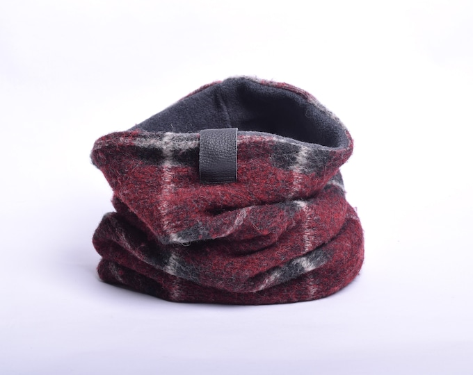 Outlet - red tartan wool cowl with grey fleece lining, hooded cowl