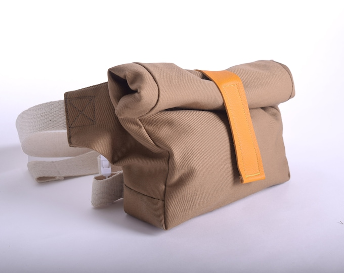 Hip pack or hip bag, shoulder bag with up-cycled leather strap