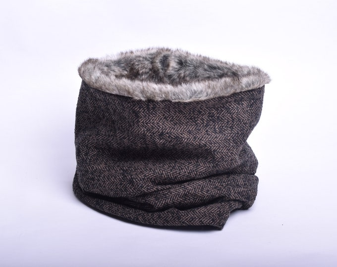 Outlet - brown herringbone wool cowl scarf with faux fur lining, hooded cowl