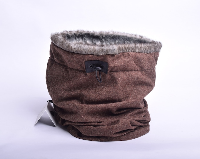 Outlet - brown wool cowl scarf with faux fur lining, hooded cowl
