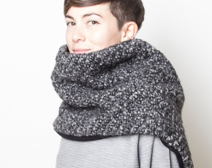 unisex chunky knit poncho, grey wool poncho, men's winter scarf