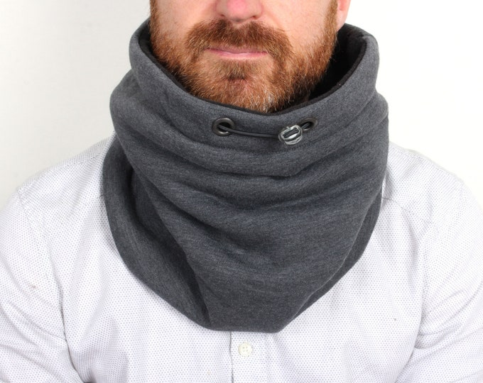 Outlet - thick dark grey cotton cowl scarf with black cotton lining