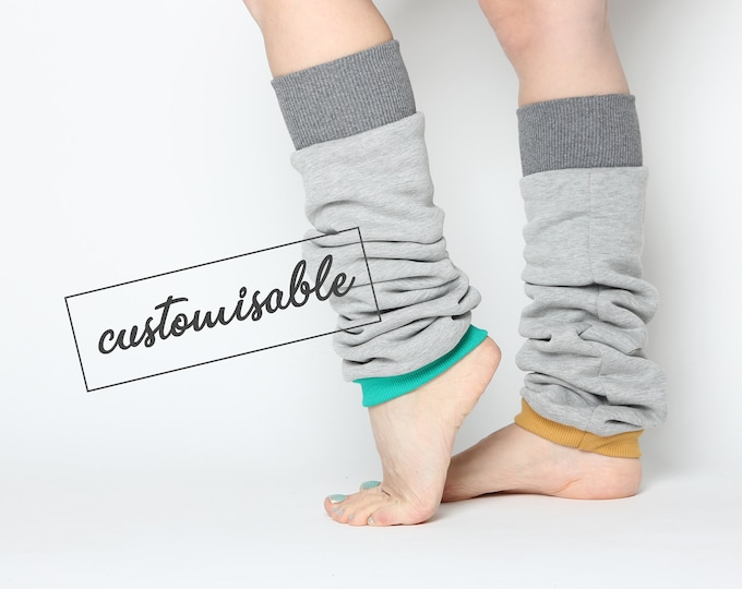 womens leg warmers in pale grey thick cotton with customisable cuffs