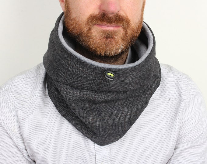 Outlet - dark grey tartan check wool, cowl scarf lined with grey cotton