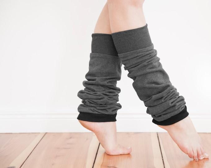 Slouchy cotton leg warmers, custom made legwarmers, dancewear, vegan friendly, extra long leg warmers in soft charcoal grey 100% cotton