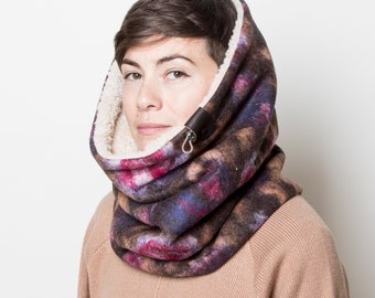 Black Beige Hooded Scarf Oversized Winter Scarf Hat Scarf Chunky Scarf Reversible Scarf Womens Hooded Scarf Hooded Infinity Scarf