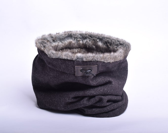 Outlet - dark brown mottled wool cowl scarf with rabbit faux fur lining, hooded cowl
