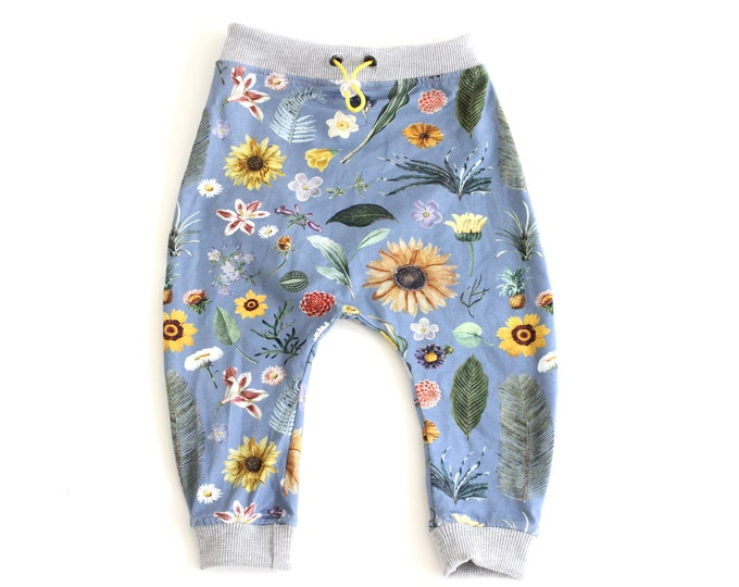 Unisex kids drop crotch trousers, harem pants, colourful garden flower print