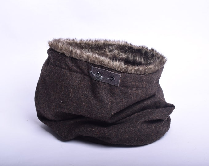 Outlet - dark brown wool cowl scarf with rabbit faux fur lining, hooded cowl