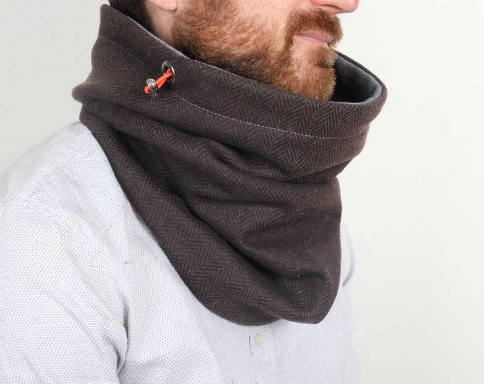 Outlet - brown herringbone wool cowl scarf lined with dark grey cotton