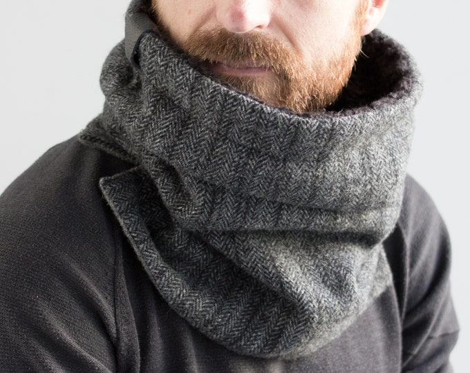 Outlet - pure wool herringbone cowl lined with black lamb and black cotton