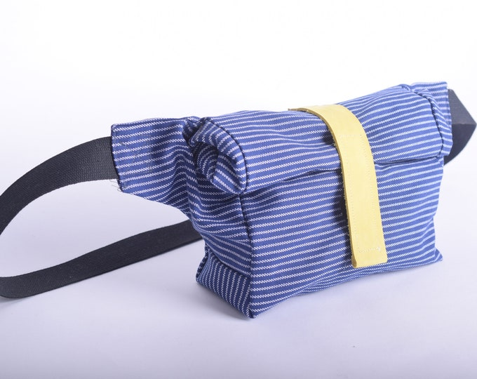 Roll top bum bag, fanny pack or shoulder bag in stripped navy blue with up-cycled leather strap