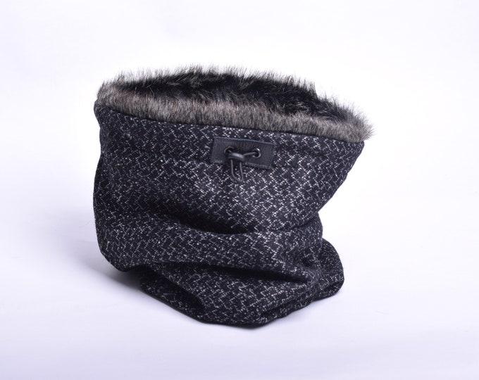 Outlet - black block herringbone wool tweed cowl hood with dark rabbit faux fur lining