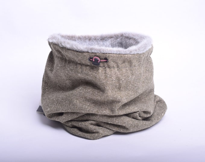 Outlet -  light moss wool cowl scarf with faux fur lining, hooded cowl