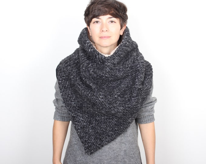 super stylish super chunky knit dark grey poncho or triangle scarf - fully lined - outlet