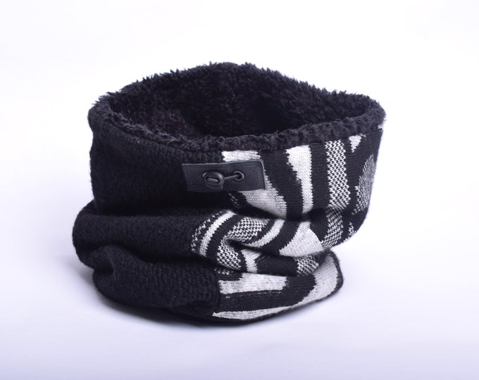 Outlet - black and half patterned wool cowl scarf with faux lamb lining, hooded cowl