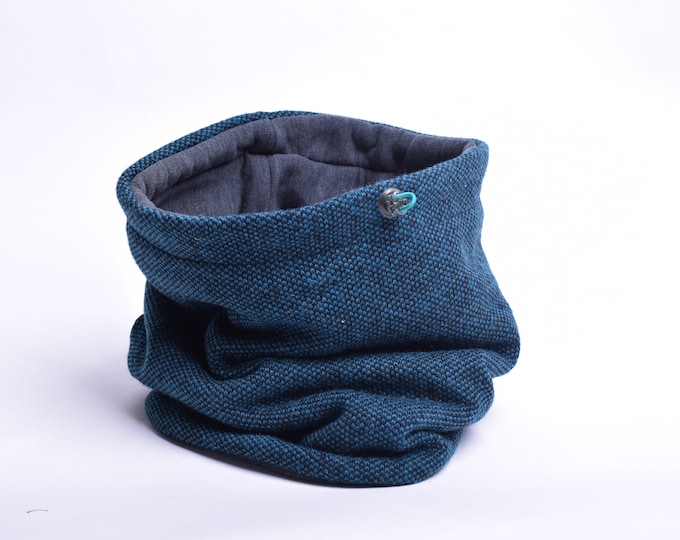 Outlet - teal melange wool cowl scarf with cotton lining
