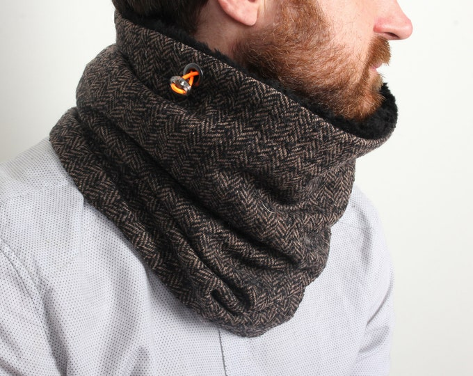 Outlet - brown herringbone wool cowl scarf lined with black lamb
