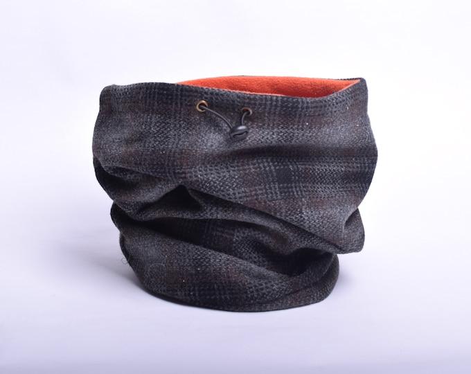 Outlet - tweed tartan wool cowl with orange fleece lining