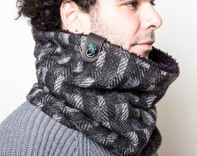 Winter Tweed Scarf, Unisex Neck Warmer, Winter Cowl, Chunky Scarf, Gift for Him, Gift for Her, Winter Accessories, Gift Idea, Christmas Gift