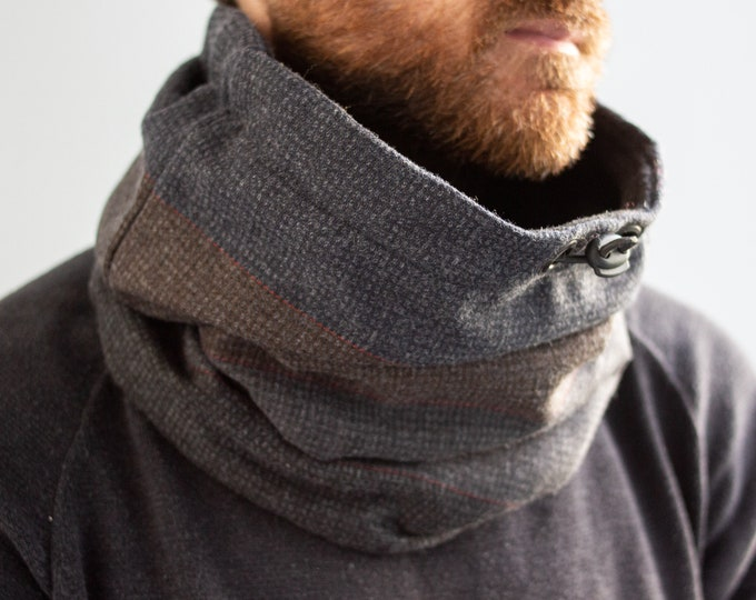 Outlet -  high quality wool cowl lined with black polar fleece