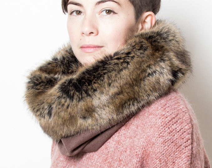 Unisex faux fur cowl scarf, fake fur scarf, luxuriously soft faux fur cowl