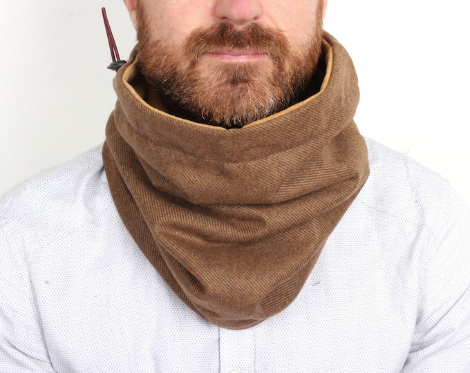 outlet -camel brown twill wool cowl lined with mustard yellow cotton