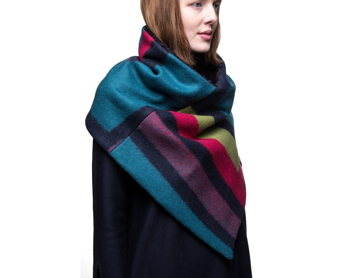 Unique geometric pattern wool poncho gift for women gift her