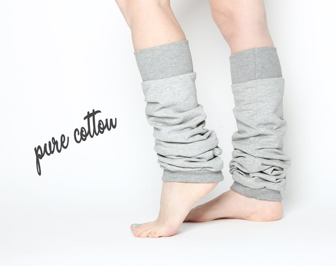 Pale grey ballet or yoga leg warmers in 100% cotton