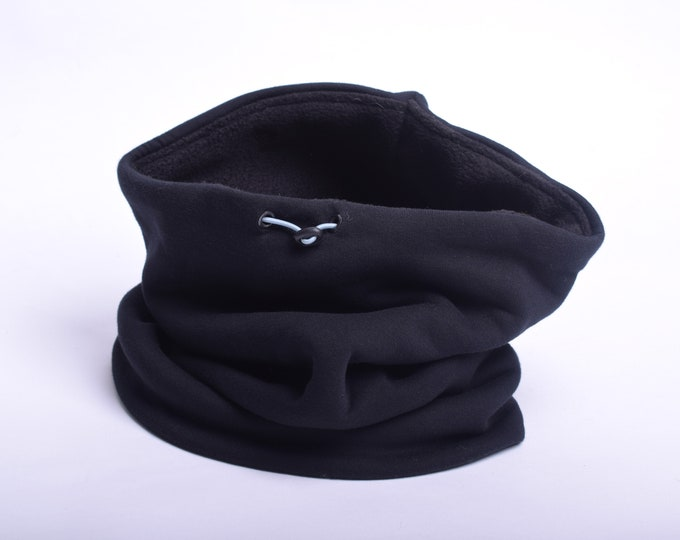 Outlet - thick black cotton cowl scarf with black polar fleece lining