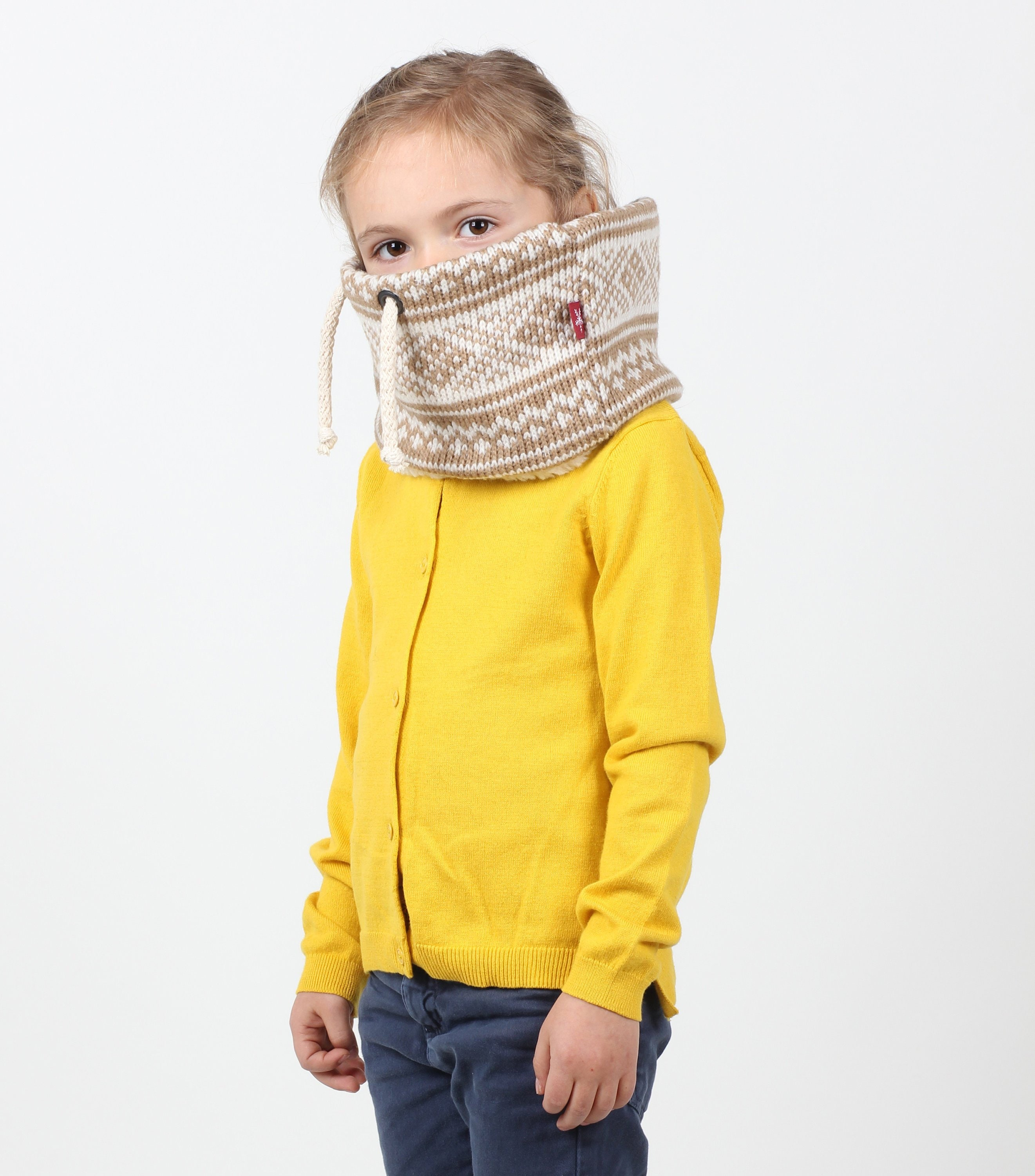 Kids Unisex Chunky Knit Cowl Or Scarf In Super Cute Nordic Pattern