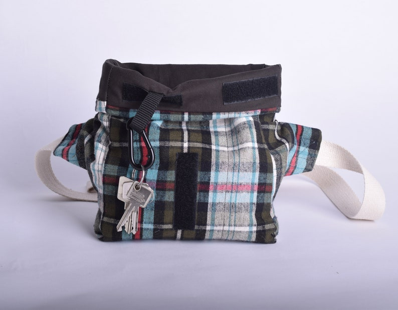 Cotton hip bag or fanny pack in roll top with up-cycled leather strap