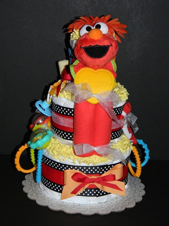 Elmo Blankie Diaper Cake Can Be Customized With Additional