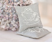 Lavender Sachets LITTLE FROGGY - Set of Two Embroidered Linen Cushions - Reserved