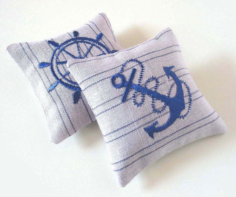 NAUTICAL lavender sachet Set of two Fragrant sachet Embroidered linen cushions Lavender pillows Eco friendly Christmas stocking for him her