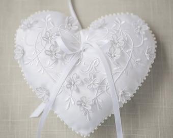 Custom Ring Bearer Pillow Custom Embroidered Wedding Ring Pillow Made to Order Embroidery Monogrammed Ring Bearer Ring Holder Monogramming