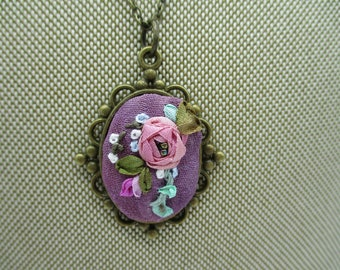 fuschia silk ribbon rose Valentines gift for her hand embroidery fabric necklace shabby chic hand dyed silk pendant beaded