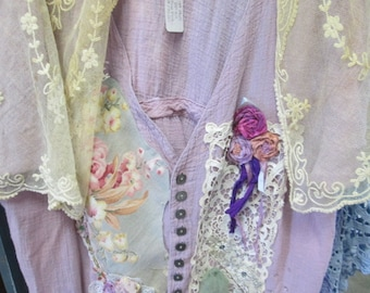"""Blue Fish cotton Gauze embellished tunic tiny buttons and drawstring back 44"""" bust"""